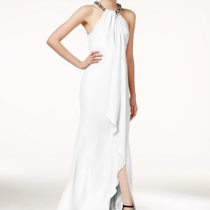 Calvin Klein Cream Beaded Halter Style Gown